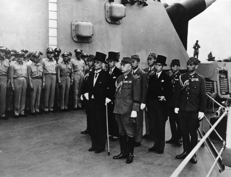 Officials arriving on the USS Missouri for the unconditional Japanese surrender in September 1945.