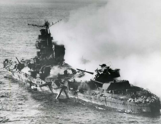 Image of Japanese warship under attack in the war led by the four five-star admirals