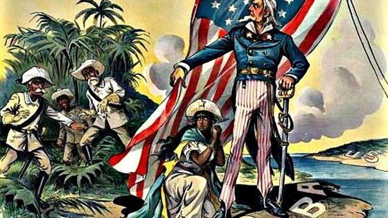 Cartoon image of Uncle Sam claiming an American empire