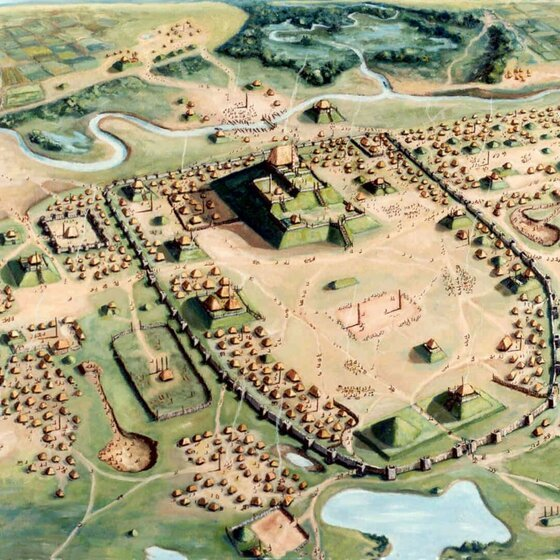 "Image of Cahokia, one of the four ""lost cities"" studied by archaeologists at work today"