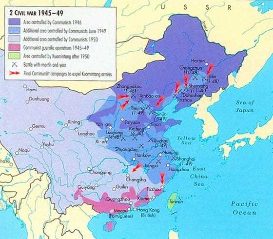 Map of the Chinese Civil War, background to understanding why so many fled Shanghai