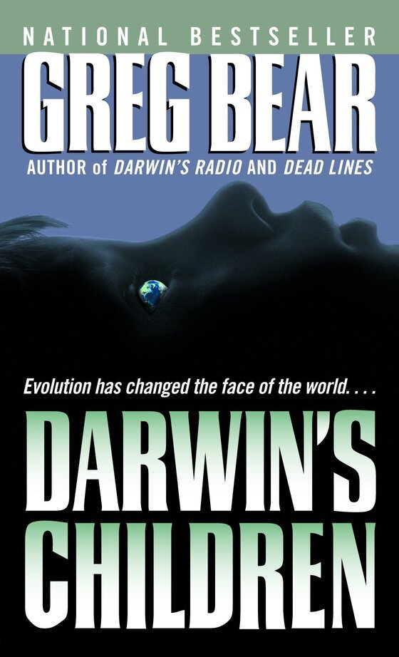 """Cover image of """"Darwin's Children,"""" a novel about the posthuman future"""
