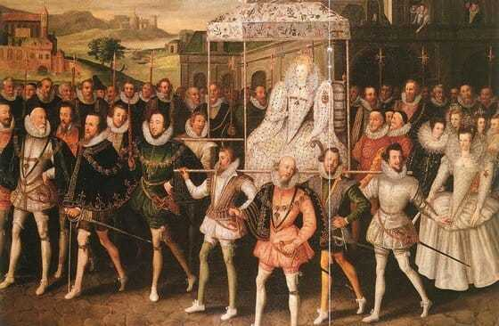 Image of Queen Elizabeth I with her courtiers, illustrating the backdrop to these mysteries set in Elizabethan England