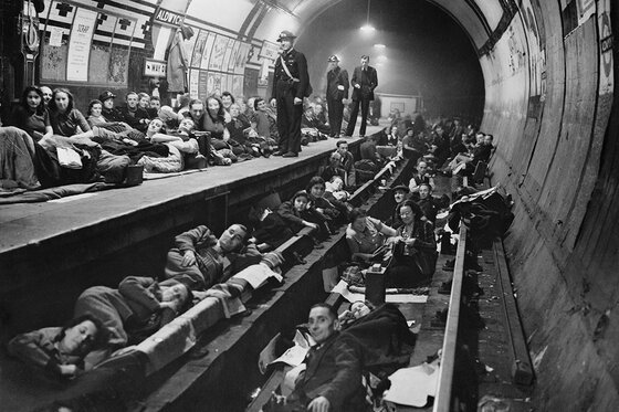 Image of Londoners sheltering in the Tube during the Blitz