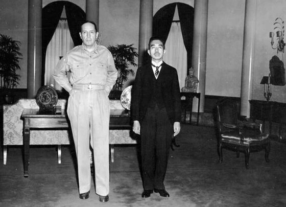 Image of Douglas MacArthur and Emperor Hirohito meeting after Japan's unconditional surrender