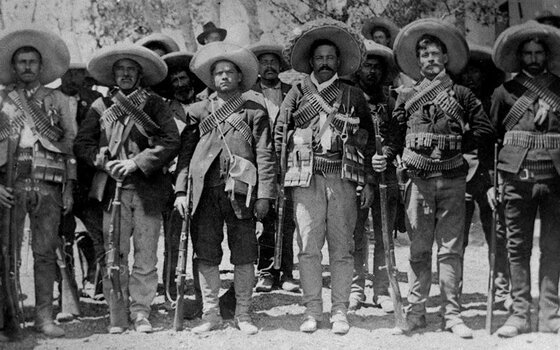 Image of Pancho Villa and his lieutenants, participants in the Revolution that led to the repression of the Mexican Church