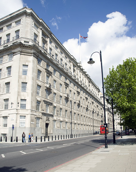 Image of Thames House, headquarters of the domestic arm of British secret intelligence