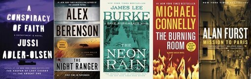 Images of 5 books in my top 10 mystery and thriller series