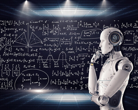 Image of a robot thinking, as we look to the future to gain a global perspective.