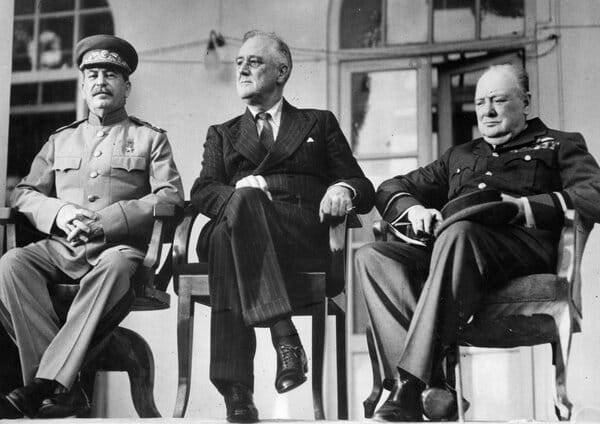 The Big Three at the Tenran Conference where the Nazi plot to kill FDR unfolded.