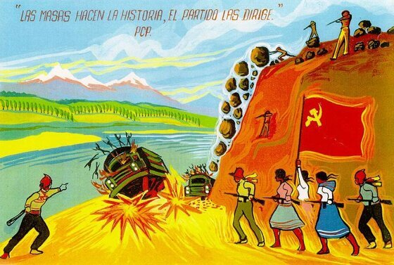 Drawing of The Shining Path guerrillas, who perpetrated terrorism in the Andes