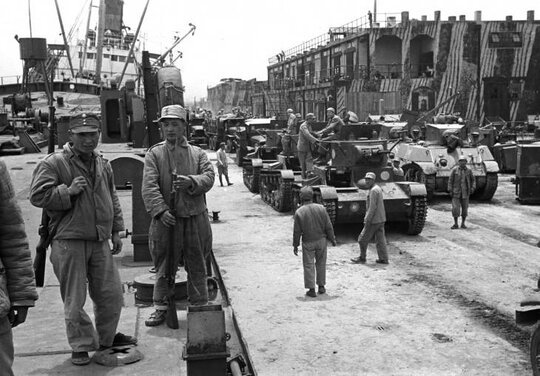 Image of Chinese Nationalist troops just before they fled Shanghai