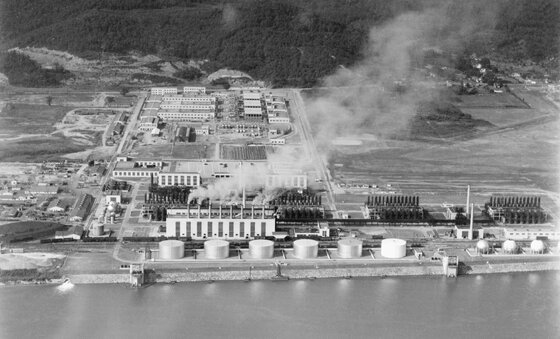 Image of a synthetic rubber plant in WWII, central to this history of American empire