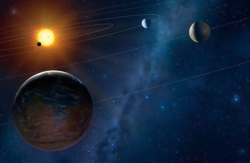 Image of the star system where this mash-up of science fiction and a mystery is set