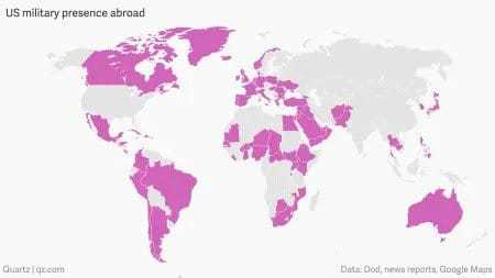World map showing American military bases, essential to understand as we gain a global perspective.